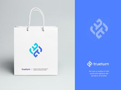 True Turn Logo clean typography graphic design logo branding design