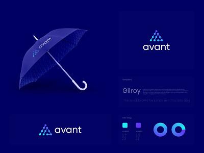 Avant Brand Mark and Logo Design designer blue custom logo technology tech logo logo illustration design logos logo designer logo color gradiant graphic design logodesign branding