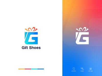 Gift Shoes : Gift Box Logo Mark brand mark trending shoes gift box logo modern logo g logo shoes logo gift shoes gift box ui illustration design logo logo designer logo color gradiant graphic design logodesign branding