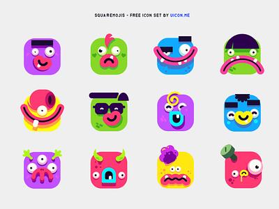Squaremojis - free icon set smiley emojis emoji funny character cartoony cartoon funny monsters monster illustration avatars avatar icons set icon set icons iconography icon designs icon design icon