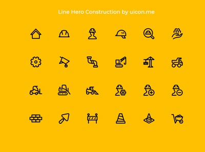 Line Hero Construction - Icon Set