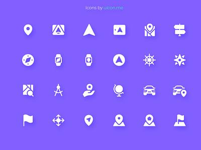Maps & Navigation Icon Set app navigation maps design illustration vector ui icons set icon set icons iconography icon designs icon design icon