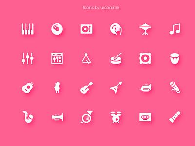 Music Icon Set music app instruments music design illustration vector ui icons set icon set icons iconography icon designs icon design icon