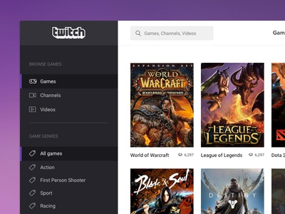 Twitch - OS X app twitch interface osx gaming web design ux ui app