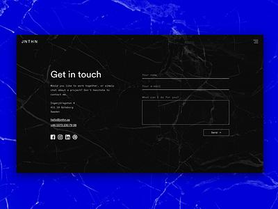 Portfolio — Contact contact form form ui responsive portfolio monochrome minimal launch design blue contact