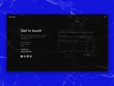 Portfolio — Contact contact form form ui responsive portfolio monochrome minimal launch design blue contact