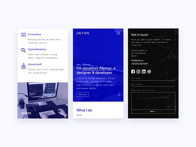 Portfolio — Mobile version ui mobile monochrome blue responsive portfolio