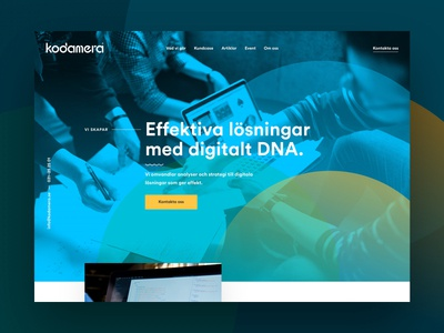Kodamera.se start page home web design light blue mock up