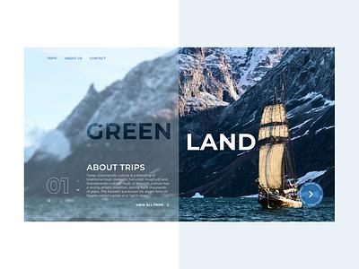 Greenland trips - web design concept minimal web ux ui design