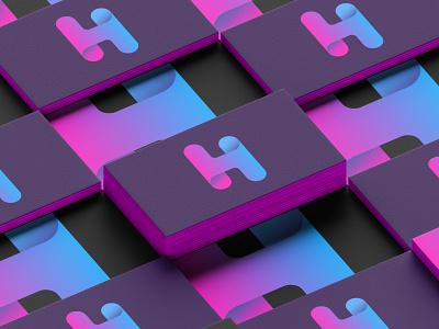 H stands for Hope business card branding lettermark gradient colorful minimalist logo modern h letter logo