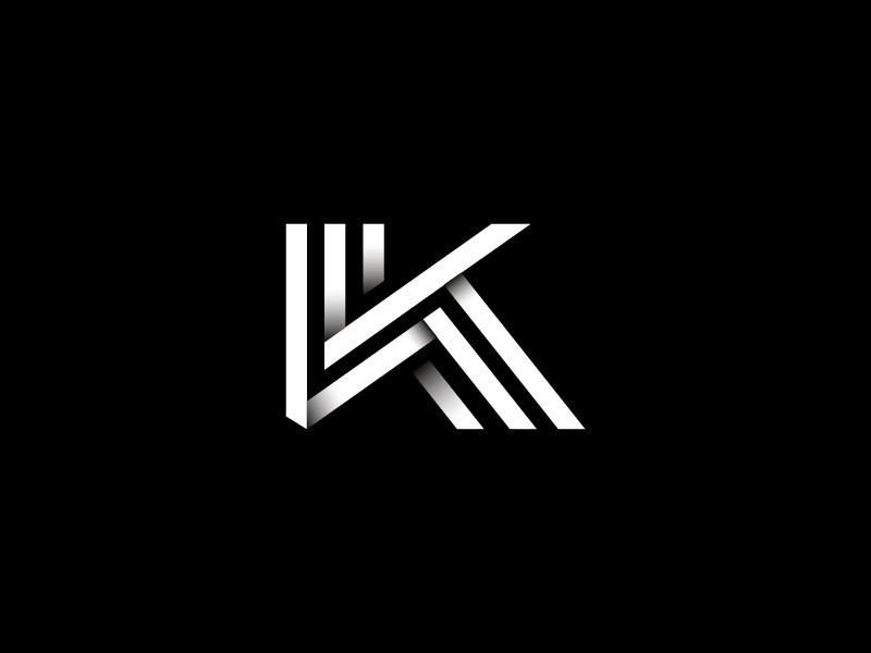 """""""K"""" Letter Mark minimal lines shadow illustrator design brand icon mark letter k logo rebrand"""