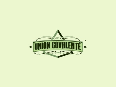 Union Covalenté letters greem spirits whiskey alcohol bottle label lettering rum logo