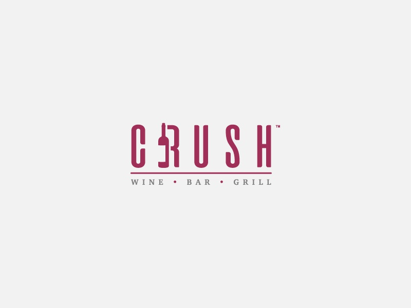 Crush Wine Bar Concept vino restaurant grill bar concept logo bottle wine