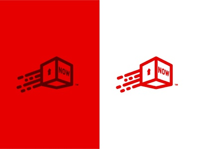 Now Shipping Concept red motion jump brand cardboard moving icon box shipping logo
