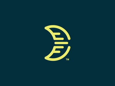 Mooncon for sale brading simple line minimal yellow logo moon icon