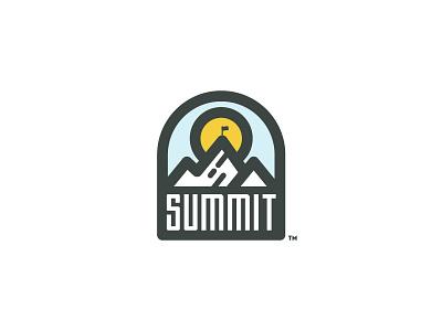 Summit sports skiing hiking pinnacle summit logo badge outdoors mountain