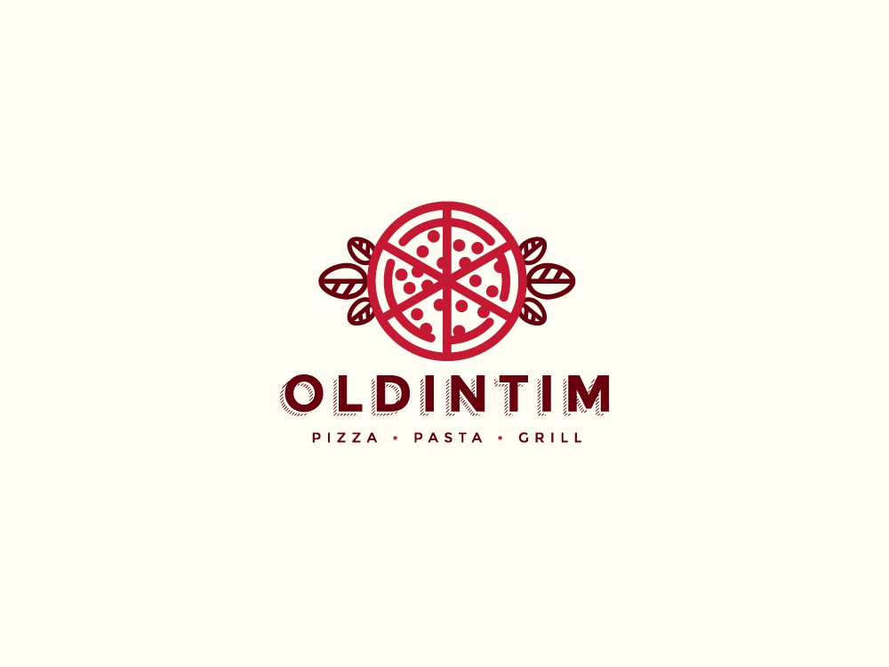 Old Intim Logo typography illustration brand icon restaurant pizzeria food pizza logo