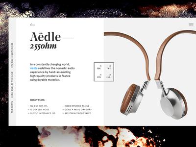 Aedle headphones elegant balance composition serif headphones e-commerce tech textures typography minimal product