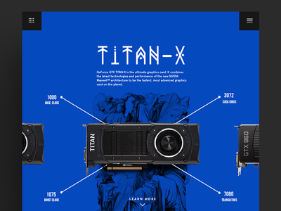 Geforce TitanX flat blue elegant balance composition gaming e-commerce tech textures typography minimal product