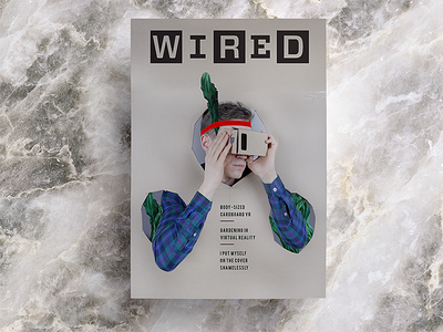 Self on Wired Cover funny marble print composition wired fun mockup typography