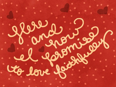 Here & Now red polka dots hearts lettering