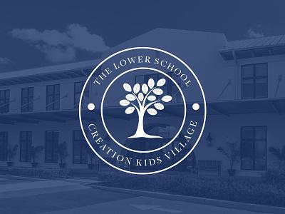 Lower School Logo tree freight text badge logo school