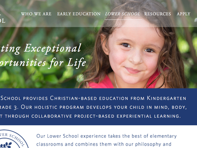 Lower School Landing Page - WIP landing page education school