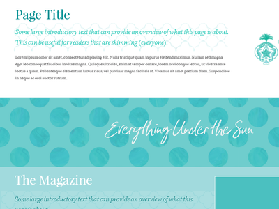 Tropical Site Mockup magazine teal typography design