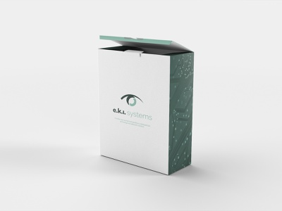 e.k.i. systems package box systems security logo modern design