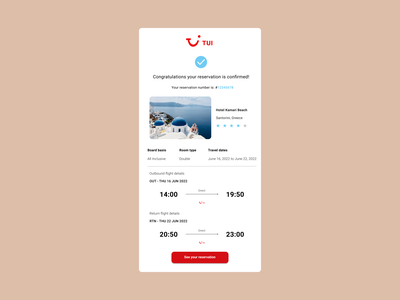 TUI email reciept concept design user interface design user interface userinterface uidesigner ux ui concept design dailyuichallenge daily ui dailyui dribbble sketchapp adobexd adobe xd figmadesign figma email design email receipt email uidesign