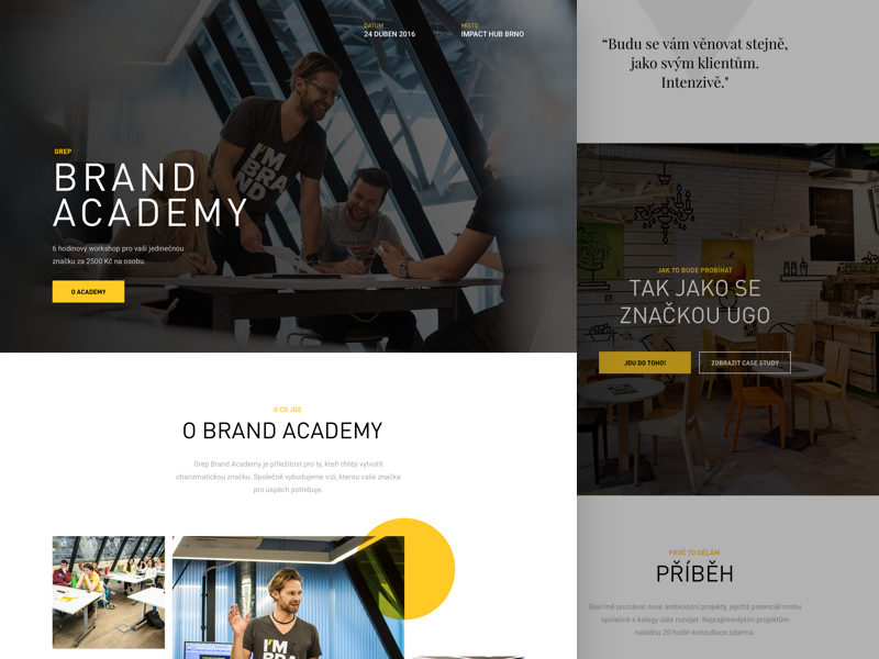 Brand Academy Homepage black yellow one page tom vranek web landing page website academy brand