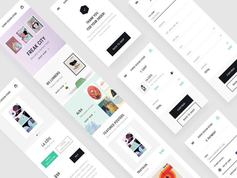 Surge Design Store - Mobile Version shop posters minimal market light eshop ecommerce design