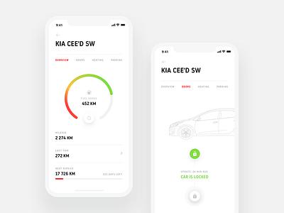 MyKia Concept - Remote Control kia red car clean minimal ui ux interaction cards app design