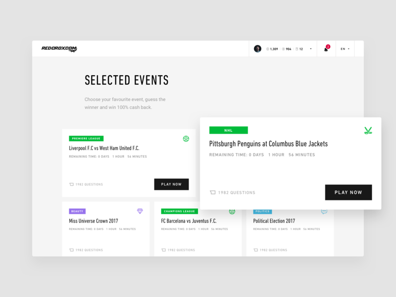 Redcrox - Selected events website minimal design history games strvcom strv sport receipt uploading white red black ui ux web tom vranek redcrox cashback dashboard