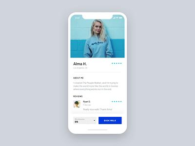 People Walker – Payment animated interaction dropdown payment booking walk blue light strv ios ux minimal app ui app ui