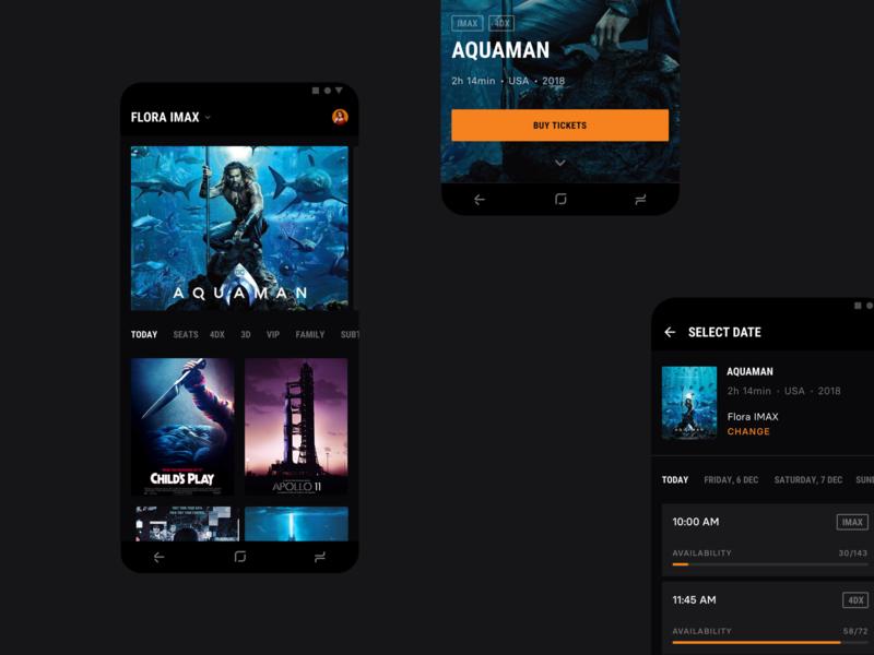 Cinema City [Android Concept] minimal concept strv orange app android app popcorn dark black movies strvcom ui ux material ui materialdesign android seats tickets cinema cinema city