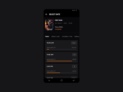 Cinema City [Android Concept] ux ui tickets strvcom strv seats popcorn orange movies minimal material ui materialdesign concept cinema city dark black cinema app android app android