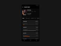 Cinema City [Android Concept] ux ui tickets strvcom strv seats popcorn orange movies minimal material ui materialdesign concept cinema city dark black cinema app android app android
