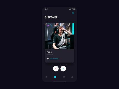 Stax App ui  ux dark theme dark app swipe cards tom vranek app ios design strvcom strv minimal leagueoflegends gamers esport ux ui dark ui dark