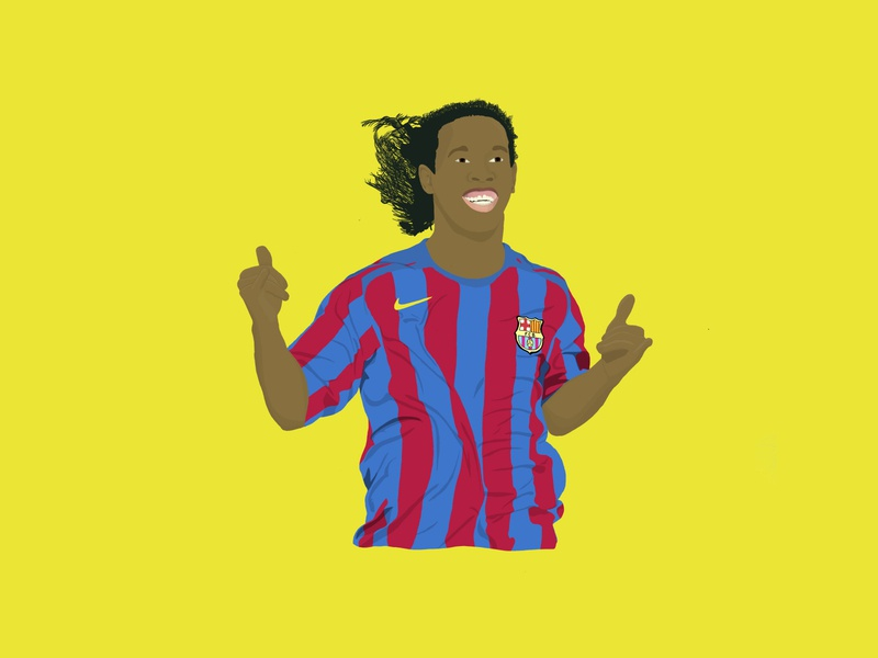 Ronaldinho Digital Drawing r10 forzabarca fcbarca barca dinho ronaldinho barcelona soccer football ipad pro procreate ipad illustration digital illustration digital art design