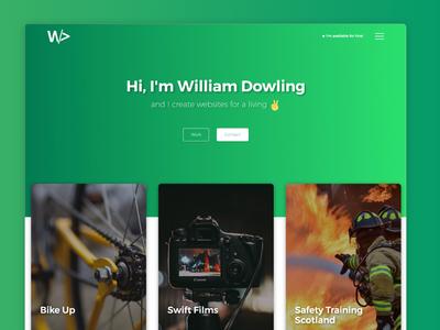 William Dowling web design type emoji green gradient design web