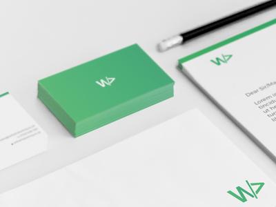 New Branding logo green envelope letterhead business card gradient