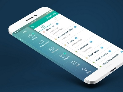 Project Manager flat blue green clean ios7 manager project