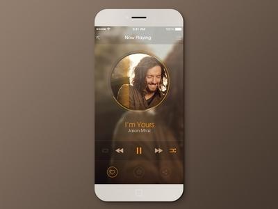 Music Player music player flat black yellow ios7 iphone