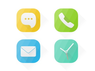 Icon icon iphone flat ui message call mail clock