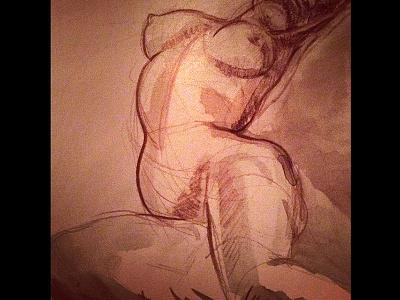 Medici fountain nude drawing nude design art watercolor paris female torso pencil