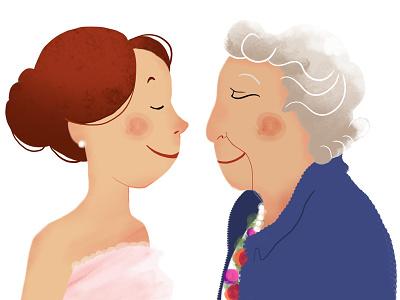 Generation illustration digital personnage femme jeune vieille