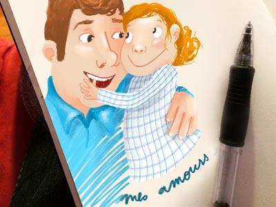 Amour girl father fille père dessin illustration