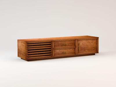 Media Console modern midcentury woodworking wood furniture tv stand media console credenza c4d 3d