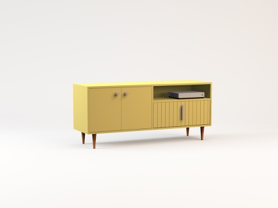 Butter Yellow Credenza woodworking woods dresser cabinet yellow media console tv stand living room modern midcentury wood furniture c4d 3d
